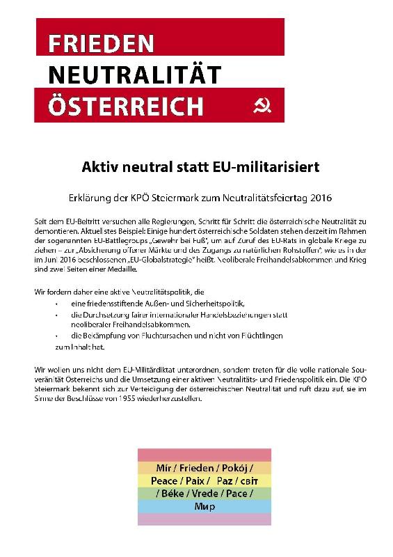 Kpö Steiermark Landtagsklub Neutralitätsfeiertag In Eisenerz